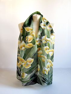 Long Silk Scarf Calla Lily scarves   hand painted scarf