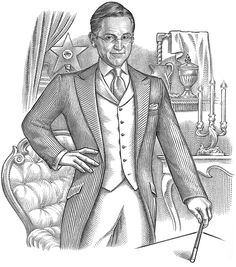 The prominent Magician, Steve Cohen, commissioned an illustration from me in the hedcut style - but with full figure and background.  Watch for the colorized version in the near future.