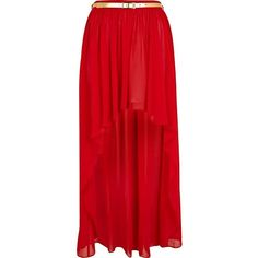 River Island Red dip hem belted maxi skirt (€18) ❤ liked on Polyvore featuring skirts, bottoms, saias, faldas, belted maxi skirt, red skirt, short front long back skirt, red high low skirt and long skirts
