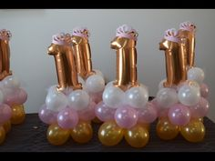 Easy and fast beautiful Princess birthday balloon decoration ideas. How to make easy and inexpensive balloon centerpieces for your next princess party. 1st Birthday Centerpieces, Princess Centerpieces, 1st Birthday Balloons, Birthday Balloon Decorations, Mini Balloons, Diy Baby Shower Decorations, Number Balloons, Balloon Centerpieces, Wedding Balloons