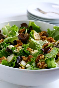 Pear, Walnut and Feta Salad with Balsamic and Olive Oil Dressing!