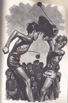 Au centre de la lice, deux jeunes garçons, torse nu, se serraient la main, et soudain de la foule on leur lança quelque chose. Ils se baissèrent ensemble, et deux secondes plus tard chacun se redressa en tenant de la main gauche un bouclier rond sur lequel était grossièrement peint un animal héraldique ; de l'autre main ils brandissaient une boule fauve que l'on distinguait mal.