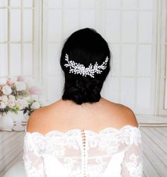 Large silver bridal hair comb layered with Austrian crystals - JADA – Treasures by Agnes Bridal Comb, Bridal Hair Vine, Wedding Hair Pieces, Headpiece Wedding, White Opal, Austrian Crystal, Wedding Hair Accessories, Hair Comb, Wedding Hairstyles