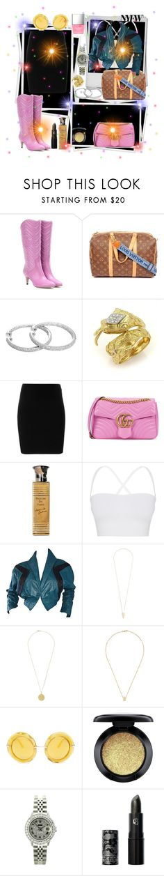 """""""Airport style✈NYFW"""" by seanahr ❤ liked on Polyvore featuring Gucci, Louis Vuitton, T By Alexander Wang, Profumi Del Forte, Theory, Kelli Kouri, Noor Fares, Orit Elhanati, Dolce&Gabbana and MAC Cosmetics"""