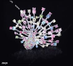 6x5cm Colorful Shining Trendy Peacock Spread Paved Crystal Lady Pin Brooch Rhinestone  #eozy