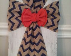 Shabby Chic Burlap Cross by Gigglypig on Etsy