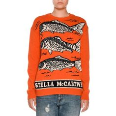 Stella Mccartney Fish Logo Intarsia Sweater (2.350 NOK) ❤ liked on Polyvore featuring tops, sweaters, crewneck pullover sweater, crewneck sweaters, pullover sweater, crew neck pullover sweater and long sleeve tops