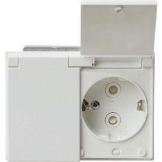 Pistorasia ABB 2-Os Läppäkannella Valkoinen IP44 - Bauhaus