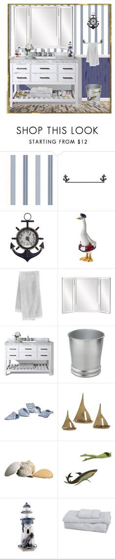 """Nautical style bathroom"" by mindy-2-1 ❤ liked on Polyvore featuring interior, interiors, interior design, home, home decor, interior decorating, Graham & Brown, Threshold, bathroom and Nautical"