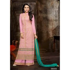 Eid Special Designer Pink Georgette Palazzo Salwar Suit-58005(DDH-609)Karishma