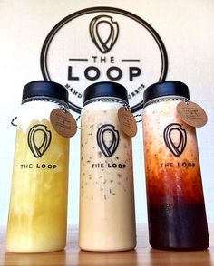 We have refreshing iced drinks too! Jasmine Tea with Sea Salt Cream, House Coffee with Salted Cheese Cream and Thai Tea with Salted Cheese Cream Get your drink with our reusable LOOP bottle! We're currently in Soft Opening daily until our Grand O Fun Drinks, Yummy Drinks, Healthy Drinks, Beverages, Coffee Packaging, Food Packaging, Glace Fruit, Jugo Natural, Thai Tea