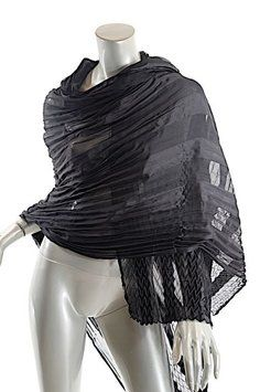 "Designers Originals Black Silk Satin/Chiffon Striped Pleated Scarf/Shawl/Wrap - 70"" x 32"""