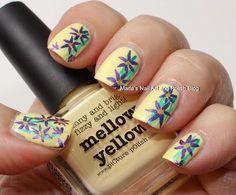 Purple flowers on Mellow Yellow