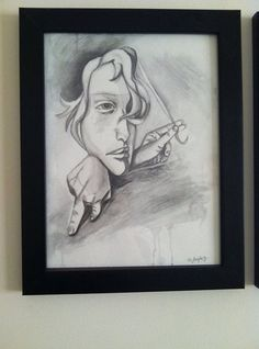 Framed watersoluble graphite drawing Pull by NicoletteLeighArts, $77.00