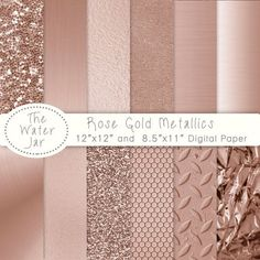 Rose Gold digital paper pack with Rose Gold Metallic Glitter, Gold Textures, Brushed metal, Rose gold foil, Rose gold textures. Rose Gold Foil Texture digital papers and Rose Gold by TheWaterJar Texture Metal, Rose Gold Texture, Rose Gold Color Palette, Rose Gold Colour, Paper Texture, Deco Rose, Gold Foil Paper, Rose Gold Paper, Rose Gold Foil