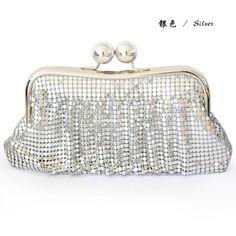 彩月C35T手包 炫彩艳丽多条纹褶皱铝片新娘包 宴会包 当季最佳品-淘宝网