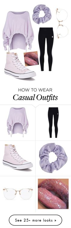 """Purple pastel n casual"" by mahiyabrown on Polyvore featuring STELLA McCARTNEY, adidas Originals, Converse, Linda Farrow, contest, pastelsweaters, powerlook and NYFWPlaid"