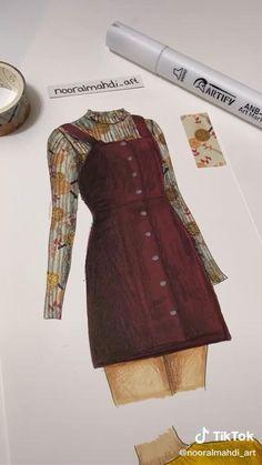 Fashion Model Drawing, Fashion Design Drawings, Fashion Sketches, Clothes Design Drawing, Dress Design Sketches, Fashion Art, Fashion Models, Clothing Sketches, Tape Art