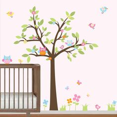 Children Wall Decals Nursery-Tree with Owls Birds Flowers-Baby Girls Nursery Decals, $129.00