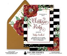 CHRISTMAS PARTY INVITATION Black & White Striped Gold Glitter Holiday Party Card Red Flower Confetti Ready Made or DiY Printable - Katelyn style. Gold shimmer envelopes and matching envelope liners also available. Only at digibuddha.com