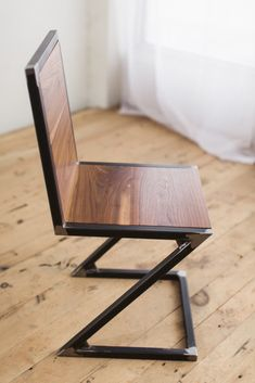 steel furniture Z-chair-walnut-raw-steel-angle-vignette-factor-fabrication Welded Furniture, Iron Furniture, Industrial Furniture, Modern Furniture, Home Furniture, Furniture Design, Furniture Stores, Rustic Furniture, Upcycled Furniture