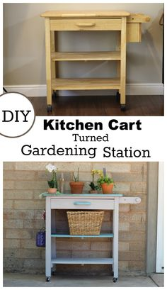 This kitchen cart is awesome!! You need to see how she added storage on the side to make room for more gardening tools!!