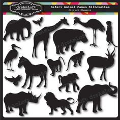 Animal Cameos Silhouettes II: African Safari Clip Art Elements Collage Sheet for cards, stationary, invitations, scrapbooking African Animals, African Safari, African Art, Silhouette Clip Art, Animal Silhouette, Silhouette Portrait, Art Party, Elements Of Art, Jungle Animals