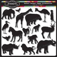 Tierische Kameen Silhouetten II: African Safari Clip Art Elemente Collage Blatt für stationäre, Einladungen, Karten, scrapbooking on Etsy, 3,01€