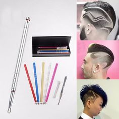 1Set Hair Engraving Shaver Salon Engraved Pen Stainless Steel Hair Styling Eyebrows Beard 10 Blades Tools High Quality