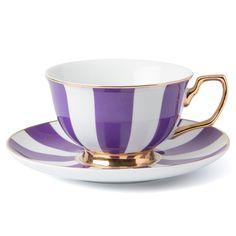 Cristina Re - Signature Stripe Grape Teacup & Saucer | Peter's of Kensington