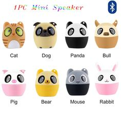 1PC Portable New Car Mini Speaker Computer Phone Cute Animal Bluetooth Full Range Wireless Speakers With