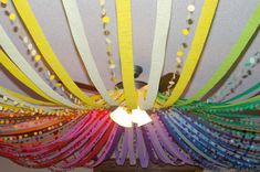 "attach streamers to a hula hoop and hang - so pretty! you could make ""streamers"" with plastic table clothes from a party store and use one of your extra hula hoops and put it in the center of the ceiling in your screened porch area! Disco Party, Disco Ball, Art Birthday, Birthday Parties, Birthday Ideas, Birthday Decorations, Ribbon Decorations, Rainbow Birthday, Castle Decorations"