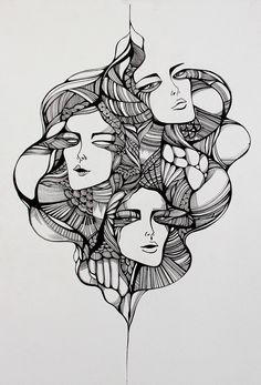 Nanquim - Camila Gondo Sketch Manga, Drawing Sketches, Drawings, Desenho Tattoo, Ink Art, Face Art, Lovers Art, Art Inspo, Collage Art