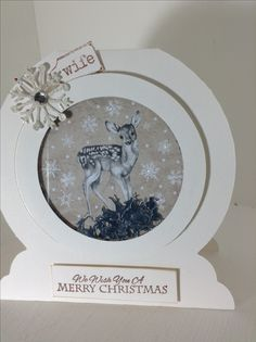 Craftwork Cards Snow globe shaker card. Crafters Companion snowflake die LOTV sentiment