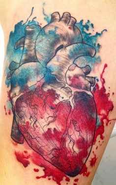 Anatomical watercolour heart tattoo by Gonta Felix.