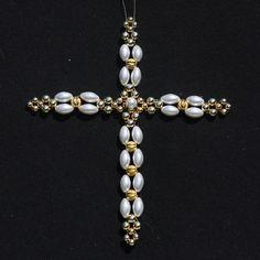 New Latin Cross - Large Beaded Crosses - Beginners Star Jewelry, Wire Jewelry, Bridal Jewelry, Beaded Jewelry, Beaded Cross, Bead Loom Bracelets, Beading Tutorials, Jewelry Patterns, Bead Weaving