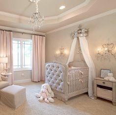 I like how the crib jets out into the middle of the room leaving extra wall space and filling the void at the center of the room.