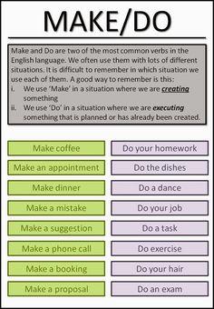 Make/Do #esl #tefl #learnenglish