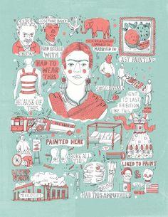 Livro usa ilustrações para contar fatos curiosos sobre artistas – Colherada Cultural  Frida Kahlo na visão de James Gulliver Hancock