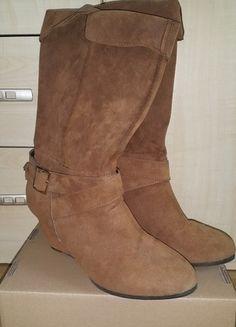 Kup mój przedmiot na #vintedpl http://www.vinted.pl/damskie-obuwie/kozaki/12440741-kozaczki-kozaki-botki-brazowe-na-koturnie-new-yorker-roz-37-wiosna-muszkieterki