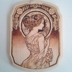 Wood burning wall art alphonse mucha woman with flowers