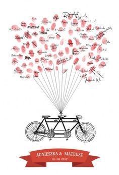 50x70 Tandem Wpisów Gości Weselnych - Retro rowery (proj. margot)