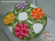 Jogo Banheiro Crochê Rasteirinhas-Capa Tampa Vaso - Jogos Banheiro Crochê