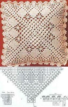 Letras e Artes da Lalá: crochet pillow Crochet Pillow Cases, Crochet Cushion Cover, Crochet Pillow Pattern, Crochet Bedspread, Crochet Cushions, Crochet Doily Patterns, Crochet Diagram, Crochet Squares, Crochet Chart