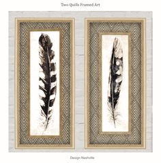 """Two Quills Framed Art, 41"""" Native American styling, simplified and on-trend. Great for masculine, lodge, and office interior spaces."""