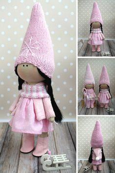 Pink Fabric Doll Textile Tilda Doll Rag Baby Doll Winter Soft Doll Handmade Unique Doll Collection Poupée Muñecas Bambole di stoffa Olga G