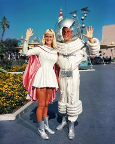 "Tomorrowland's ""Spacewoman"" and ""Spaceman"" at Disneyland c. 1960's (x)"