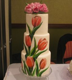 Hand Painted Wedding Cake 3 tier wedding cake covered in white fondant and hand painted, topped with fresh tulips. Bolo Floral, Floral Cake, Pretty Cakes, Beautiful Cakes, Amazing Cakes, Tulip Cake, Painted Wedding Cake, Tulip Wedding, Hand Painted Cakes