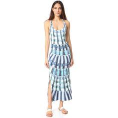 Mara Hoffman Racer Back Maxi Dress (6,460 INR) ❤ liked on Polyvore featuring dresses, blue jersey dress, racerback dress, racerback jersey, blue jersey and maxi dresses