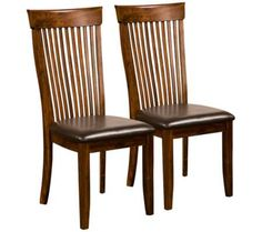 """Oakdale Set of 2 Dark Oak Side Chairs 
